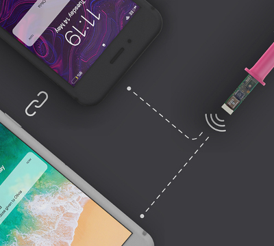 graphic of medical device connecting wirelessly to two smartphones
