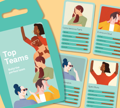 graphic of team building top trumps cards