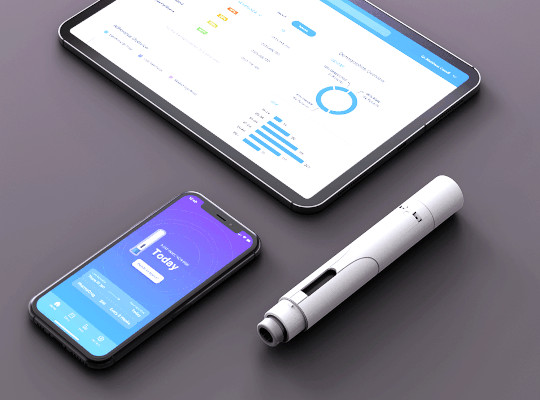 auto injector smart phone and tablet showing connectivity