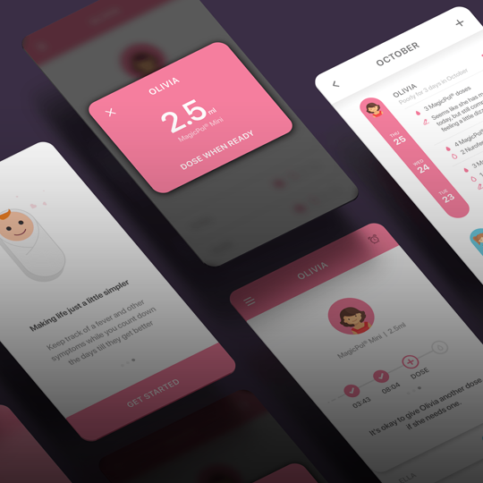 graphic of tracking app screen designs