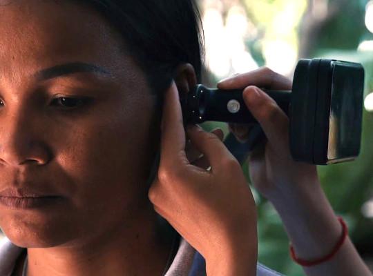 person undergoing ear examination