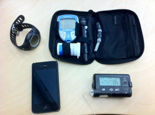 Bag of diabetes management technology for running