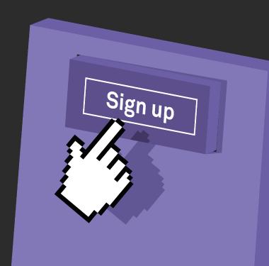 Signing up symbol