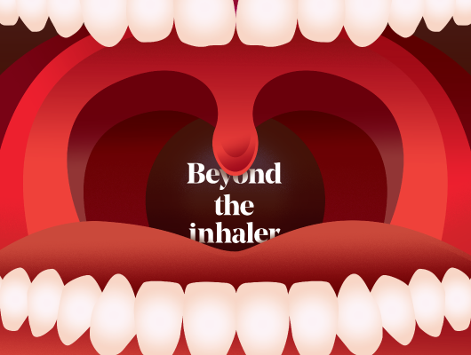 illustration of open mouth with title beyond the inhaler in the middle