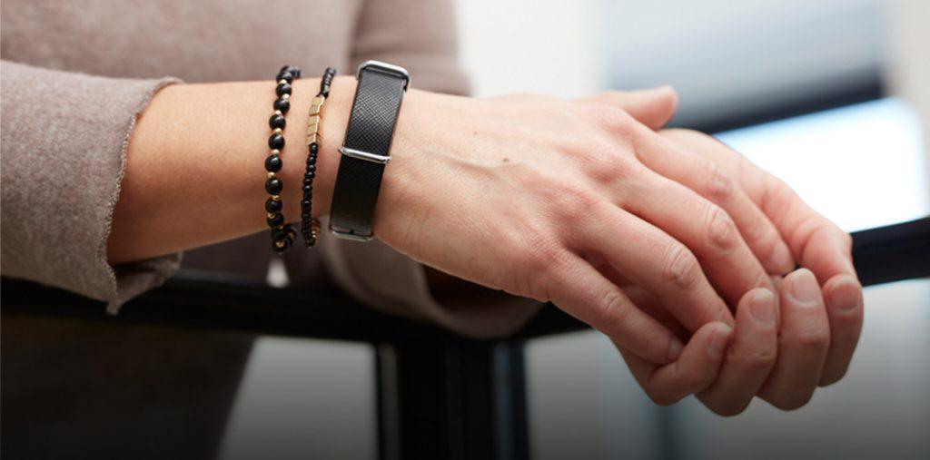 close up of wrist worn blood pressure monitor