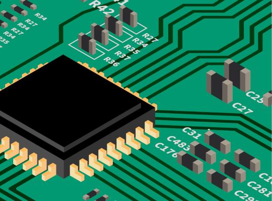 rendering of electronic circuit board