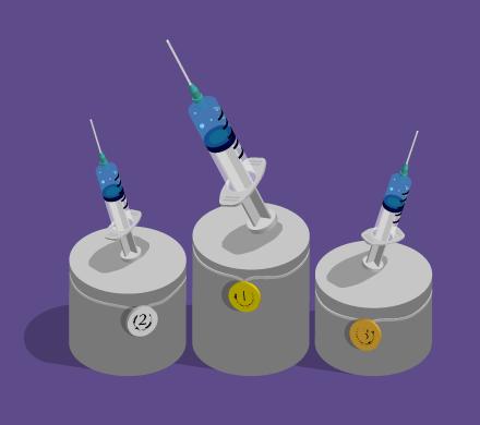illustrations of 3 syringes on pedestals